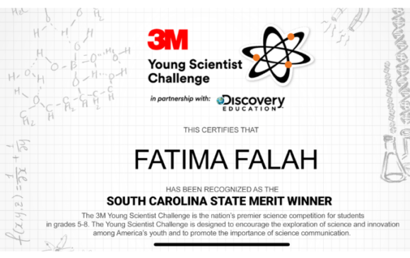Fatima Falah is SC's State Merit Winner, 3M Young Scientist Challenge