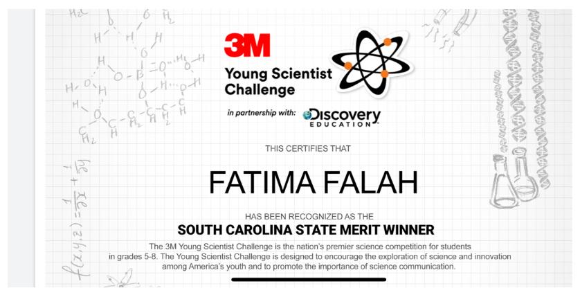 Fatima Falah is SC's State Merit Winner, 3M Young Scientist Challenge